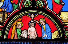 Baptism Of Christ, Stained Glass Window From Saint Germain-l'Auxerrois Church In Paris, France