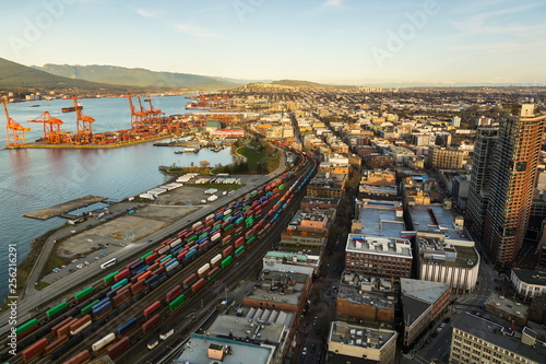 Spoed Foto op Canvas Grijze traf. Aerial view of Vancouver's port and city with mountains in the background, Vancouver, British Columbia, Canada
