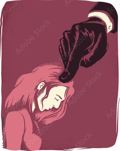 Fotografía  Girl Intimidated Hand Illustration