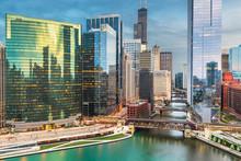 Chicago, Illinois USA Skyline Over The River