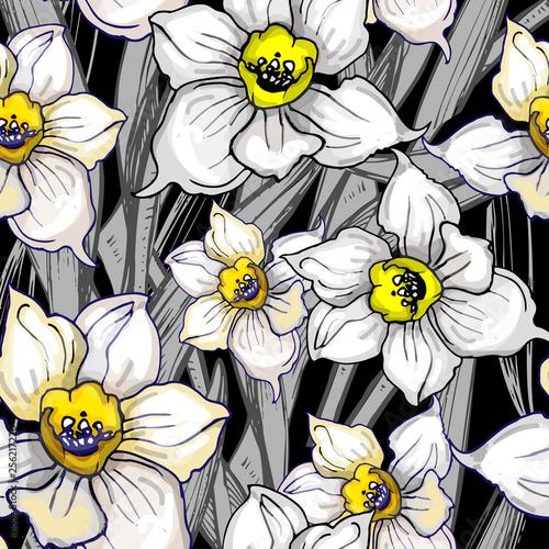 Monochromatyczny botaniczny bezszwowy wzór z ręka rysującymi kwitnie daffodils, narcyz. Projekt florystyczny na szarym tle czarnym. Ilustracja wektorowa