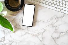 Mock Up Blank Screen Mobile Phone On Marble Office Desk