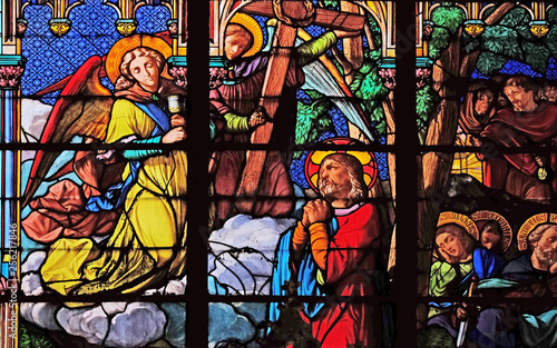 Jesus and his disciples on Mount of Olives, stained glass windows in the Saint E Wallpaper Mural