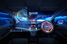 Car Interior With Self Driving...