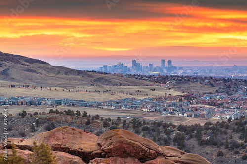 Downtown Denver, Colorado, USA From Red Rocks Fototapeta