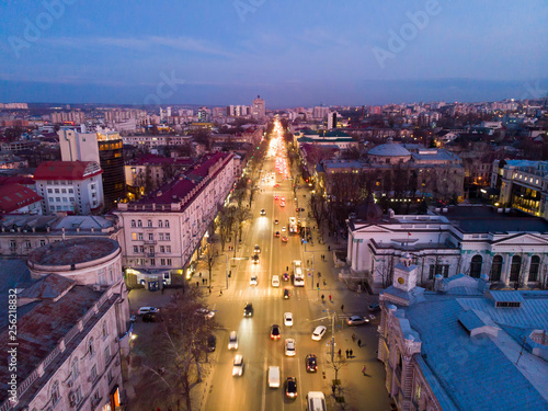 Stefan cel mare central boulevard at sunset Canvas-taulu