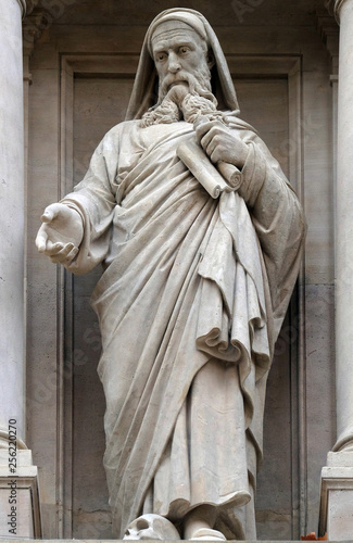 Платно Prophet Ezekiel, statue on the facade of Saint Augustine church in Paris, France