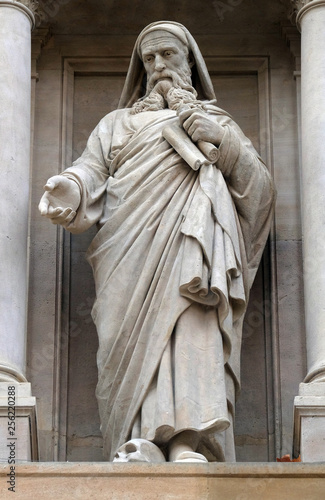Prophet Ezekiel, statue on the facade of Saint Augustine church in Paris, France фототапет