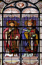 Saint Martin And Saint Ambrose, Stained Glass Window In The Saint Augustine Church In Paris, France