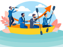 Office Staff Sailing In The Same Boat To The Goal. In Minimalist Style Cartoon Flat