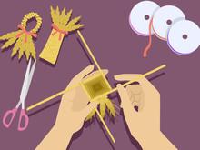 Hands Corn Dolly Illustration