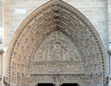 Portal Of St. Anne, Notre Dame Cathedral, Paris, UNESCO World Heritage Site In Paris, France