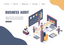 The Concept Of Business Auditing. Verification Of Accounting Data. Financial Report. Professional Audit Advice. Flat Isometric Style.