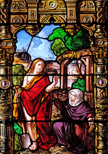 Obraz na plátně Risen Christ and Mary Magdalene, stained glass windows in the Saint Gervais and