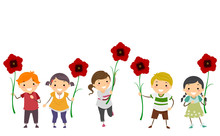 Stickman Kids Poppy Flowers Remembrance Day