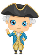 Kid Boy George Washington Costume Illustration