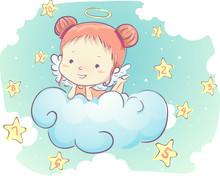 Kid Girl Angel Clouds Stars Nu...