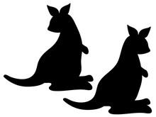 Silhouette Of Cartoon Kangaroo