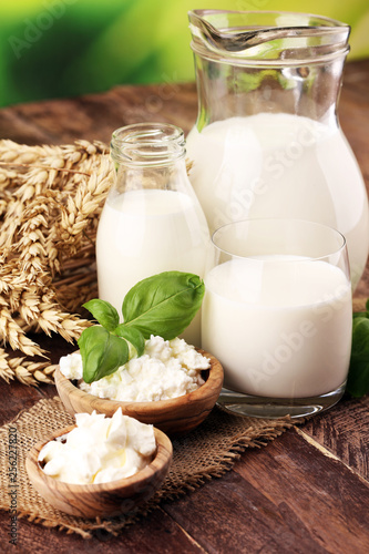 Aluminium Prints Dairy products milk products. tasty healthy dairy products on a table. sour cream in a white bowl, cottage cheese bowl, cream in a a bank and milk jar, glass bottle and in a glass