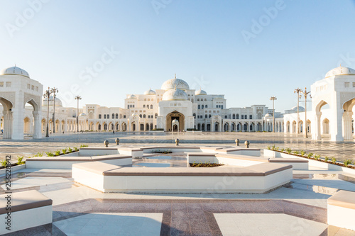 Poster Abou Dabi Qasr Al Watan, UAE Presidential Palace, Abu Dhabi, opened to public on March 12th. View on the palace from the entrance and gardens