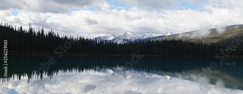 Poster Morning with fog Lake and Mountain Landscapes at Emerald Lake in Yoho National Park, British Columbia, Canada.