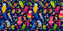 Cute Tropical Birds In Jungle. Parrots And Toucan Sitting On Branches.