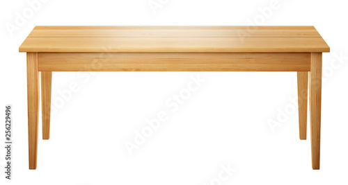 Foto  front view of wooden table isolated on white background with clipping path inclu