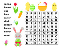 Easter Educational Game For Kids. Word Search Game. Spring Theme. Vector Bunny, Chick, Flowers And Easter Eggs.