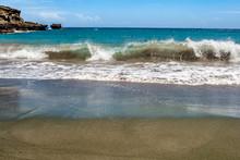 Waves Crashing On Papakolea Beach The Green Sand Beach Located Near South Point, In The Kaʻū District Of The Island Of Hawaiʻi (The Big Island)