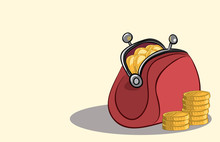 Red Purse Filled With Gold Coins . Hard Currency Cash Savings