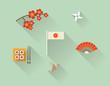 Vector illustration icon set of Japan