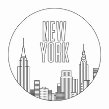 New York City, Vector Outline ...