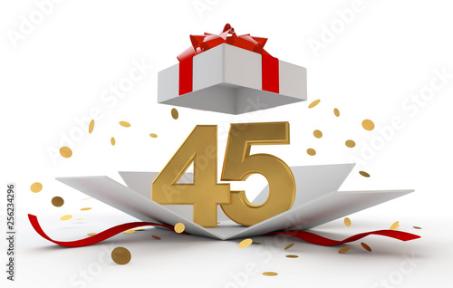 Photo  Happy 45th birthday gold surprise boxwith red ribbon