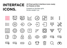 40 Interface Icons, Pixel Perf...