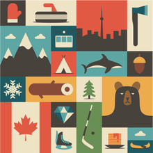 Canada, Vector Flat Illustration, Icon Set, Background.