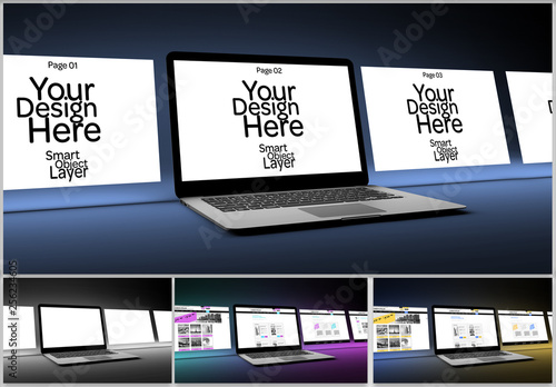 4 Website Pages On Desktop Computer Mockup Buy This Stock