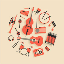 Music, Vector Flat Illustration Of Musical Instruments, Icon Se, White Background.
