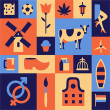 Netherlands, Amsterdam. Vector Travel Illustration, Flat Icon Set, Color Background.