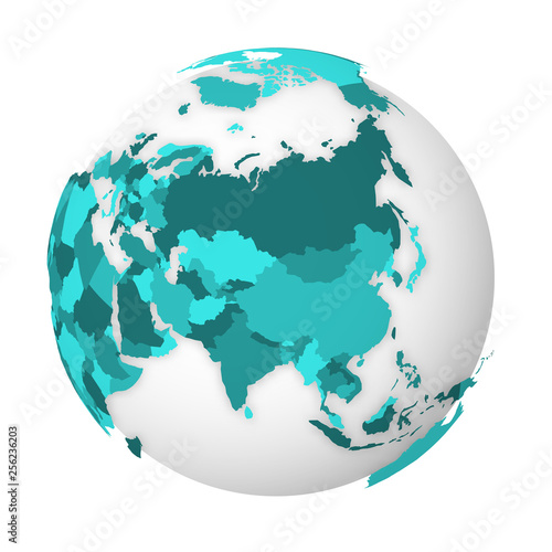 Map Of Asia 3d.Blank Political Map Of Asia 3d Earth Globe With Turquoise Blue Map