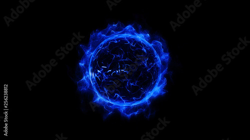 Poster Fractal waves Blue circular shinning glowing light ring sparkle powerful effect dust explosion. Scatter bright neon on black background. Star frame galaxy and space digital concept.