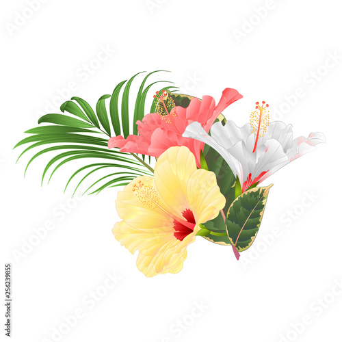 Tropical Flowers Floral Arrangement With Pink White And Yellow