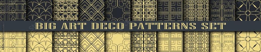 Fototapeta Art Deco Patterns set collection. Golden backgrounds. Fan scales ornaments. Geometric decorative digital papers. Vector line design. 1920-30s motifs. Luxury vintage illustration