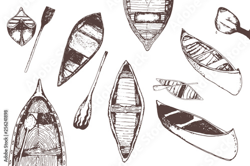 hand drawn traced collection of monochrome canoes isolated on white Wallpaper Mural