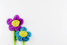 Two Toy Plush Smiling Flowers ...