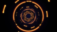 Orange Abstract Light Circles Seamless Looping. Animation Of An Abstract Background Tunnel Loop With Shiny Light Circles. Futuristic Illumination Neon Space. Abstract Circles Neon Tunnel.