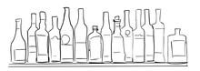 Bottles On Shelf. Bar Illustra...