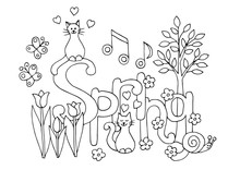 Hand Drawn Coloring Page On Spring Theme
