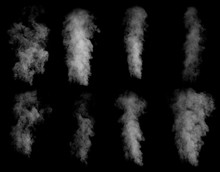 Set Of Different Clouds Of Smoke Isolated On Black Background