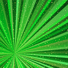 Bright Abstract Frame With Green Beams And Gold Stars.