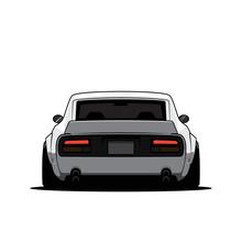Cartoon Japan Tuned Car Isolat...